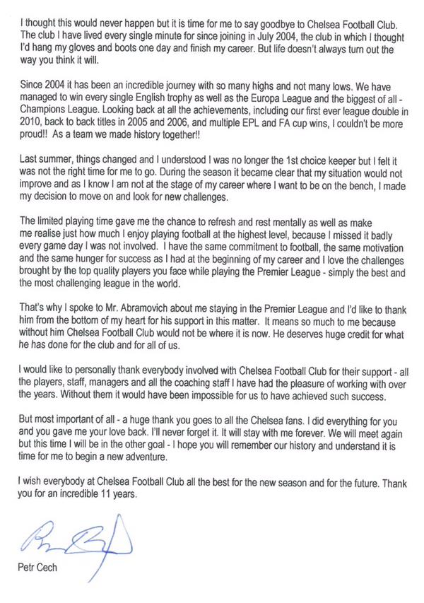 Petr Cech thanks Abramovich from the bottom of his heart in