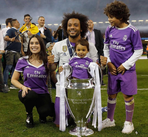 Marcelo puts baby inside Champions League Cup